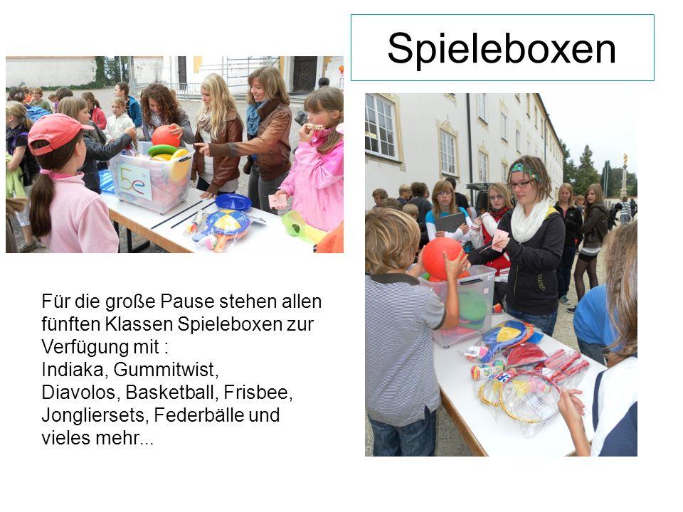 Spieleboxen Für die große Pause stehen allen fünften Klassen Spieleboxen zur Verfügung mit : Indiaka, Gummitwist, Diavolos, Basketball, Frisbee, Jongliersets, Federbälle und vieles mehr...