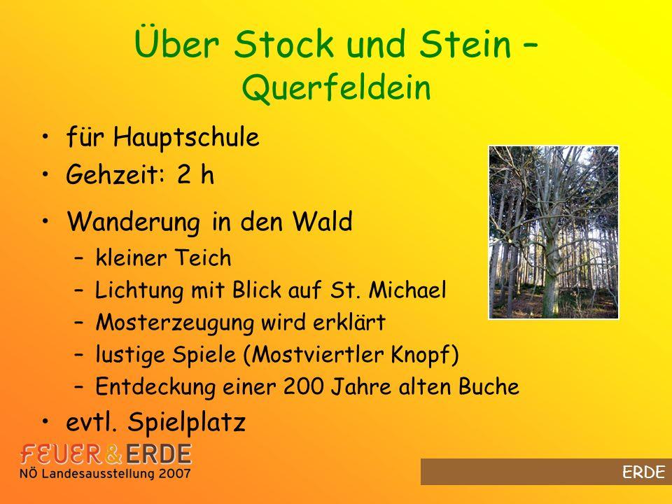 Über Stock und Stein – Querfeldein für Hauptschule Gehzeit: 2 h Wanderung in den Wald –kleiner Teich –Lichtung mit Blick auf St.