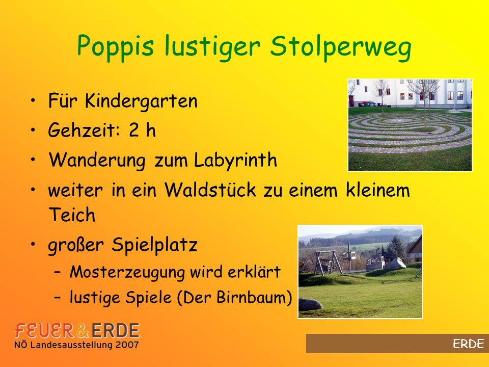 Poppis lustiger Stolperweg Für Kindergarten Gehzeit: 2 h Wanderung zum Labyrinth weiter in ein Waldstück zu einem kleinem Teich großer Spielplatz –Mosterzeugung wird erklärt –lustige Spiele (Der Birnbaum) ERDE