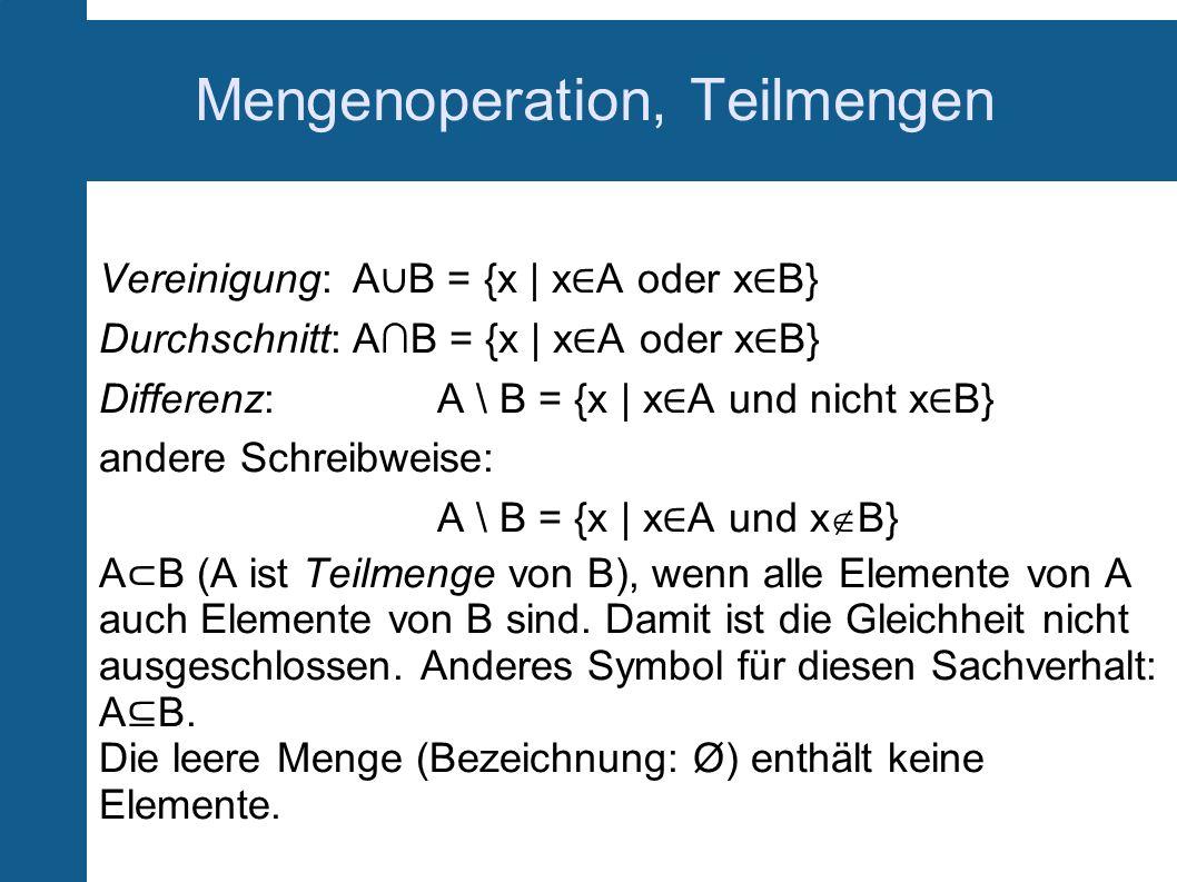 Mengenoperation, Teilmengen Vereinigung: A B = {x   x A oder x B} Durchschnitt:AB = {x   x A oder x B} Differenz:A \ B = {x   x A und nicht x B} ander