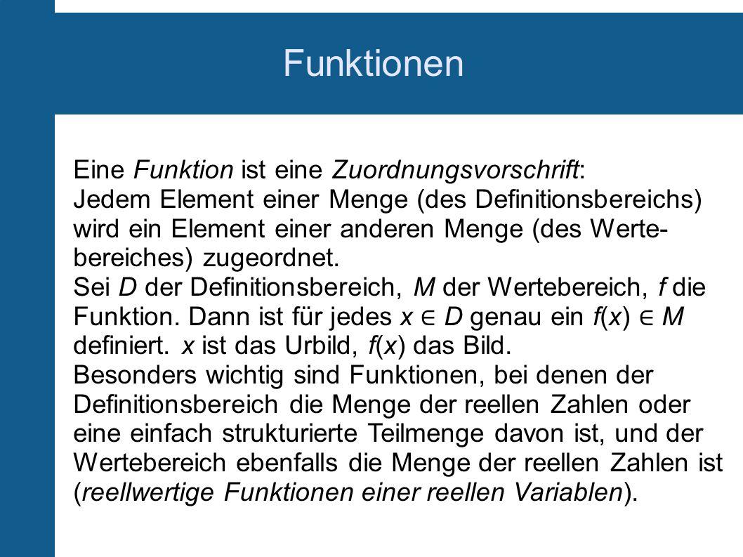 Funktionen Eine Funktion ist eine Zuordnungsvorschrift: Jedem Element einer Menge (des Definitionsbereichs) wird ein Element einer anderen Menge (des