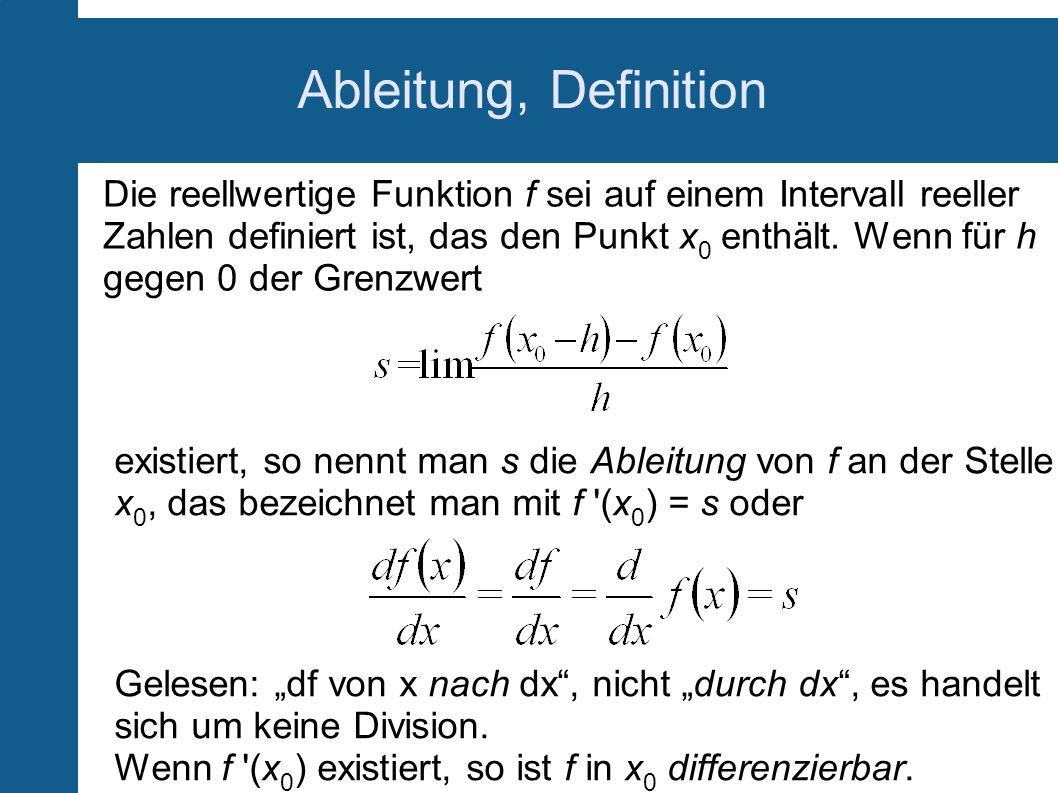 Ableitung, Definition Die reellwertige Funktion f sei auf einem Intervall reeller Zahlen definiert ist, das den Punkt x 0 enthält. Wenn für h gegen 0