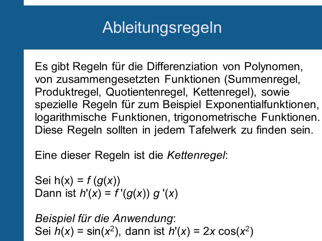 Ableitungsregeln Es gibt Regeln für die Differenziation von Polynomen, von zusammengesetzten Funktionen (Summenregel, Produktregel, Quotientenregel, K