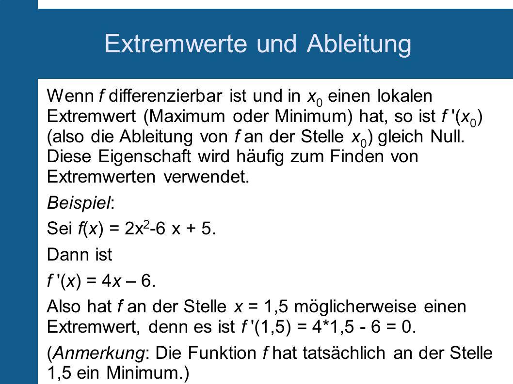 Extremwerte und Ableitung Wenn f differenzierbar ist und in x 0 einen lokalen Extremwert (Maximum oder Minimum) hat, so ist f '(x 0 ) (also die Ableit