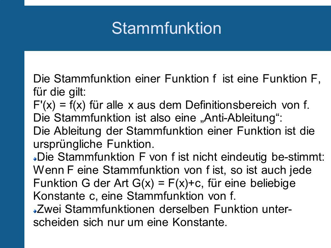 Stammfunktion Die Stammfunktion einer Funktion f ist eine Funktion F, für die gilt: F'(x) = f(x) für alle x aus dem Definitionsbereich von f. Die Stam