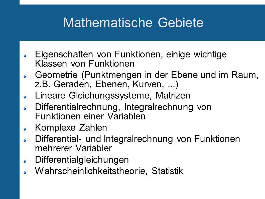Mathematische Gebiete Eigenschaften von Funktionen, einige wichtige Klassen von Funktionen Geometrie (Punktmengen in der Ebene und im Raum, z.B. Gerad