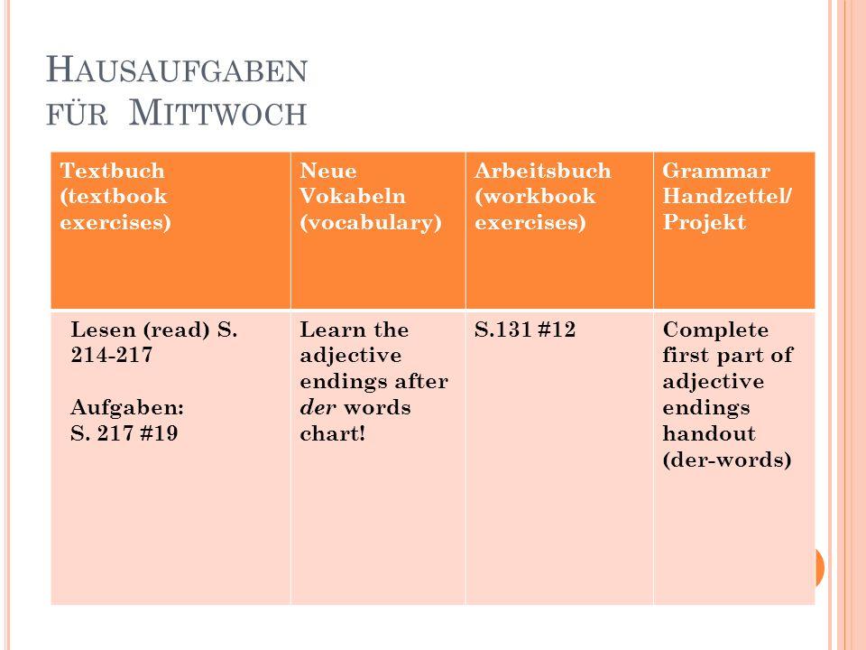 H AUSAUFGABEN FÜR M ITTWOCH Textbuch (textbook exercises) Neue Vokabeln (vocabulary) Arbeitsbuch (workbook exercises) Grammar Handzettel/ Projekt Lese