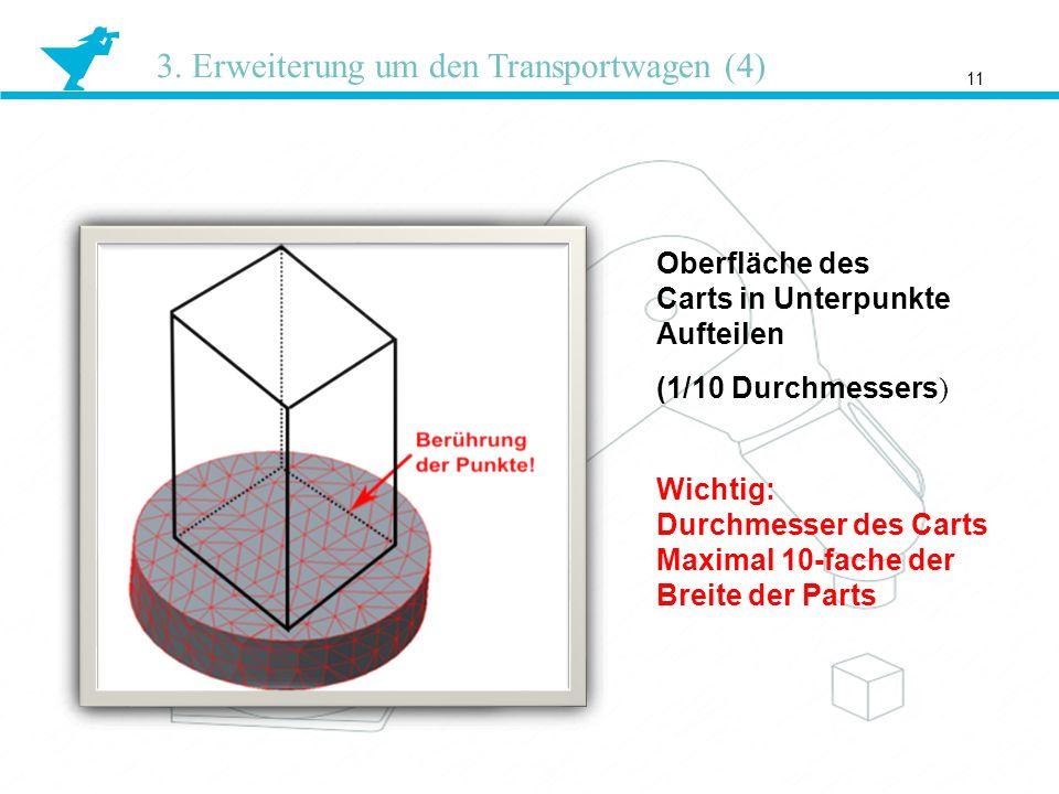 11 3. Erweiterung um den Transportwagen (4) Oberfläche des Carts in Unterpunkte Aufteilen (1/10 Durchmessers ) Wichtig: Durchmesser des Carts Maximal
