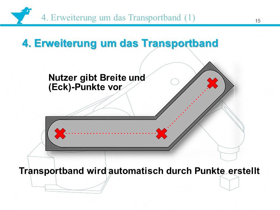 4. Erweiterung um das Transportband 15 4. Erweiterung um das Transportband (1) Nutzer gibt Breite und (Eck)-Punkte vor Transportband wird automatisch