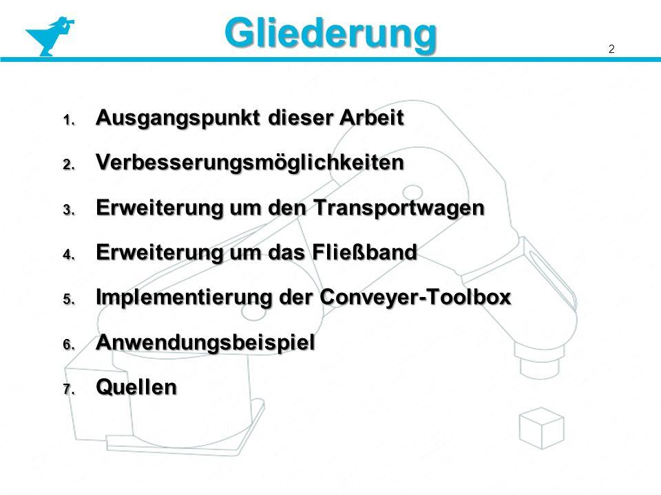 Gliederung 1. Ausgangspunkt dieser Arbeit 2. Verbesserungsmöglichkeiten 3. Erweiterung um den Transportwagen 4. Erweiterung um das Fließband 5. Implem