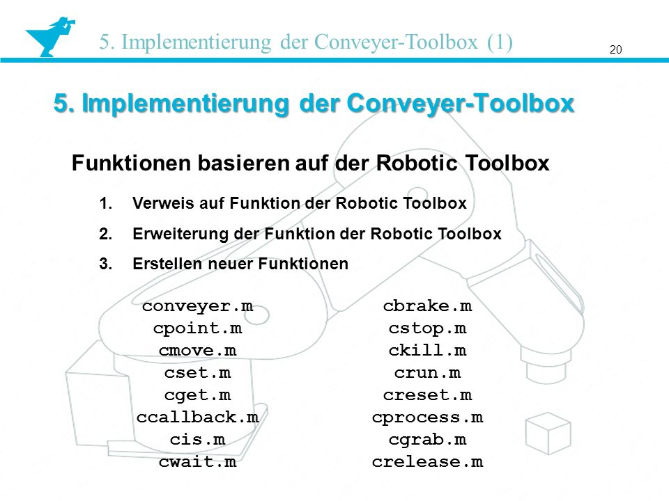 5. Implementierung der Conveyer-Toolbox 20 5. Implementierung der Conveyer-Toolbox (1) Funktionen basieren auf der Robotic Toolbox conveyer.m cpoint.m