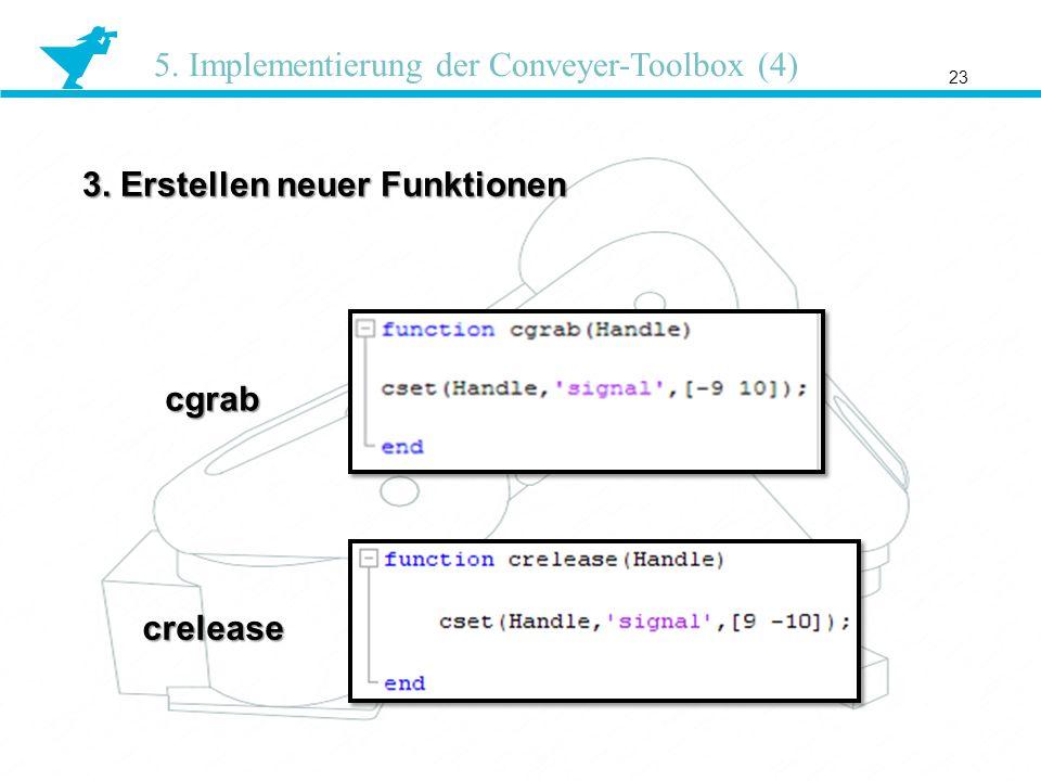 3. Erstellen neuer Funktionen 23 5. Implementierung der Conveyer-Toolbox (4) cgrab crelease