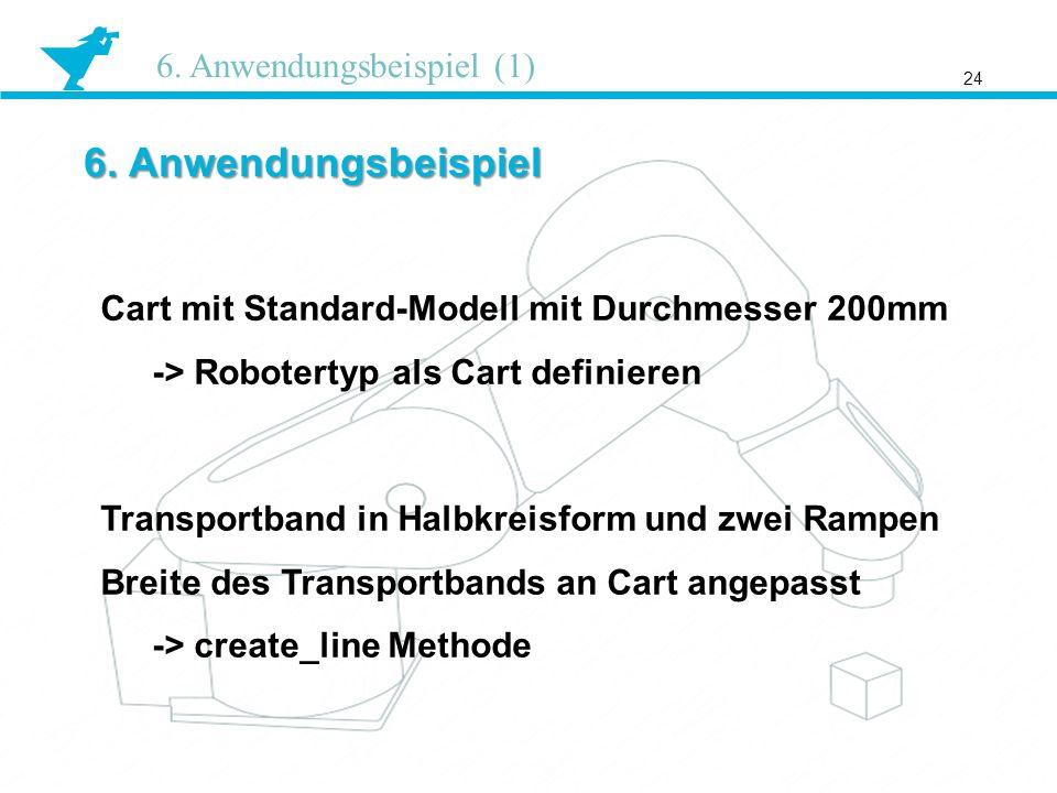 6. Anwendungsbeispiel 24 6. Anwendungsbeispiel (1) Cart mit Standard-Modell mit Durchmesser 200mm -> Robotertyp als Cart definieren Transportband in H