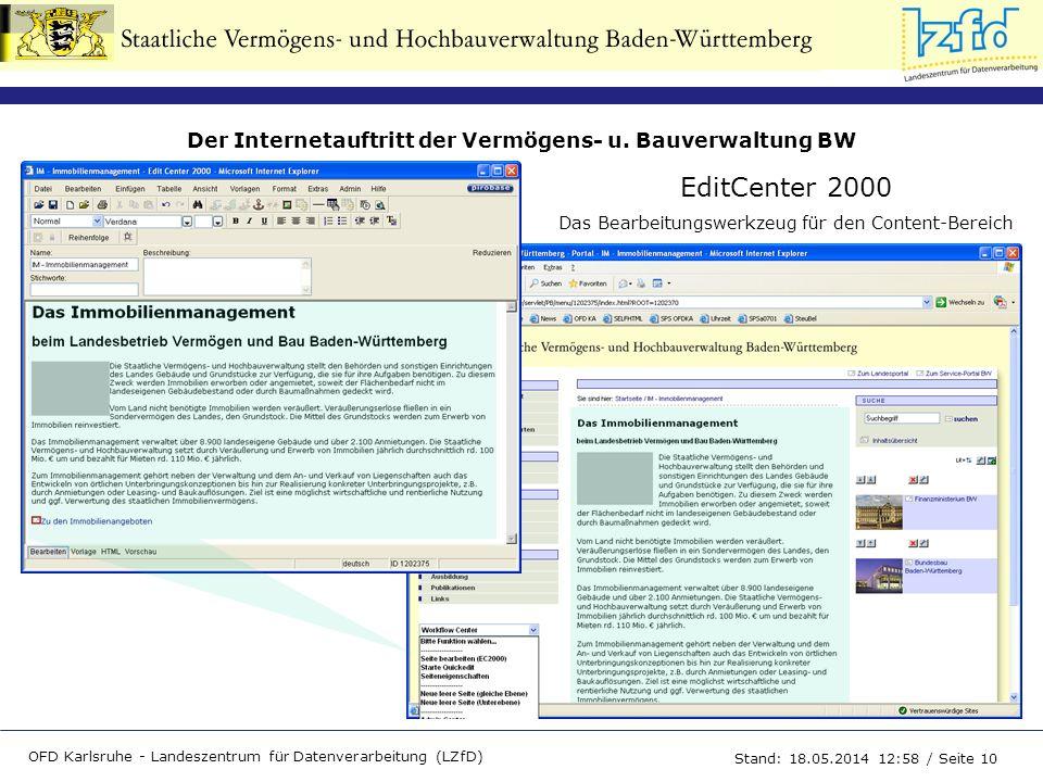 Der Internetauftritt der Vermögens- u. Bauverwaltung BW OFD Karlsruhe - Landeszentrum für Datenverarbeitung (LZfD) Stand: 18.05.2014 13:00 / Seite 10