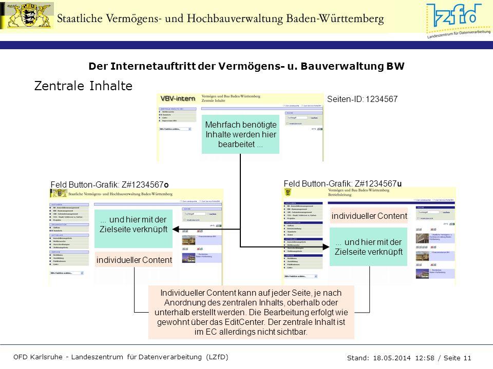 Der Internetauftritt der Vermögens- u. Bauverwaltung BW OFD Karlsruhe - Landeszentrum für Datenverarbeitung (LZfD) Stand: 18.05.2014 13:00 / Seite 11