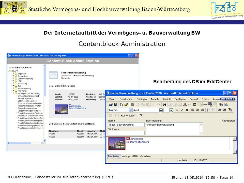Der Internetauftritt der Vermögens- u. Bauverwaltung BW OFD Karlsruhe - Landeszentrum für Datenverarbeitung (LZfD) Stand: 18.05.2014 13:00 / Seite 14