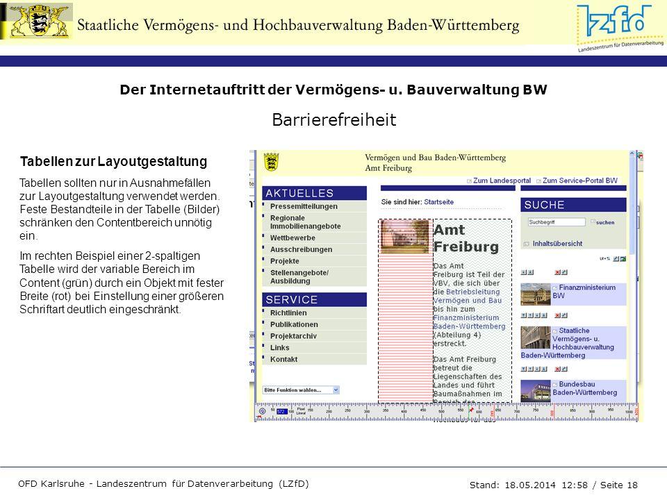 Der Internetauftritt der Vermögens- u. Bauverwaltung BW OFD Karlsruhe - Landeszentrum für Datenverarbeitung (LZfD) Stand: 18.05.2014 13:00 / Seite 18