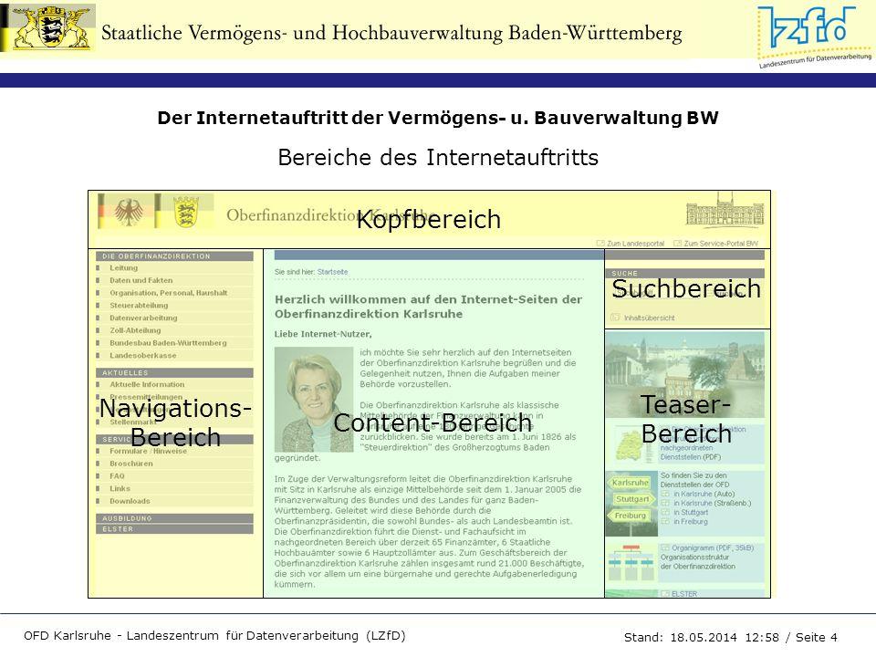Der Internetauftritt der Vermögens- u. Bauverwaltung BW OFD Karlsruhe - Landeszentrum für Datenverarbeitung (LZfD) Stand: 18.05.2014 13:00 / Seite 4 K