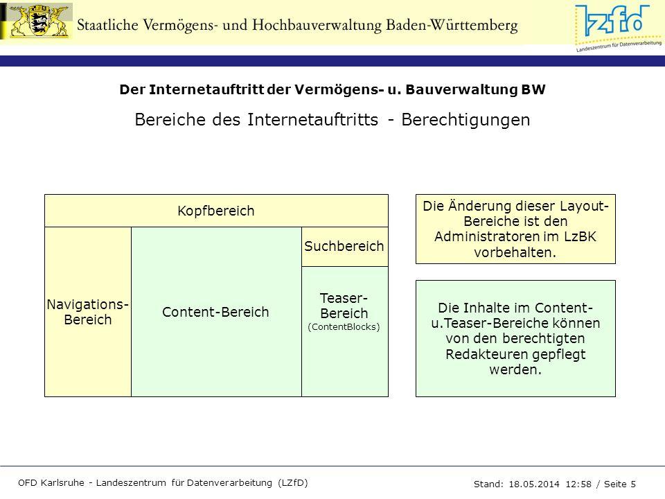 Der Internetauftritt der Vermögens- u. Bauverwaltung BW OFD Karlsruhe - Landeszentrum für Datenverarbeitung (LZfD) Stand: 18.05.2014 13:00 / Seite 5 B