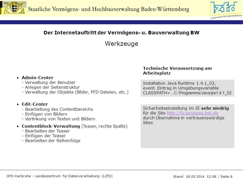 Der Internetauftritt der Vermögens- u. Bauverwaltung BW OFD Karlsruhe - Landeszentrum für Datenverarbeitung (LZfD) Stand: 18.05.2014 13:00 / Seite 8 W