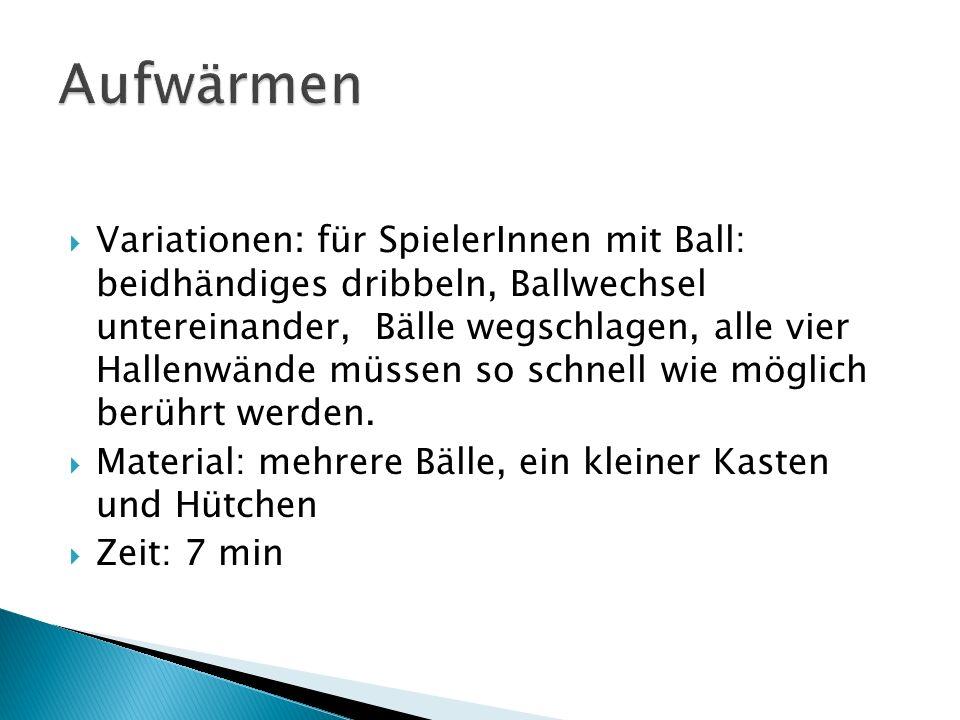 Variationen: für SpielerInnen mit Ball: beidhändiges dribbeln, Ballwechsel untereinander, Bälle wegschlagen, alle vier Hallenwände müssen so schnell w