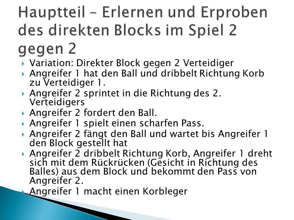 Variation: Direkter Block gegen 2 Verteidiger Angreifer 1 hat den Ball und dribbelt Richtung Korb zu Verteidiger 1. Angreifer 2 sprintet in die Richtu