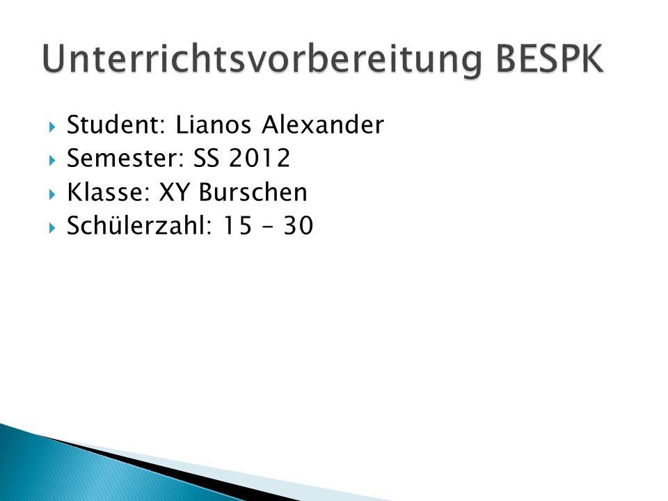 Student: Lianos Alexander Semester: SS 2012 Klasse: XY Burschen Schülerzahl: 15 – 30