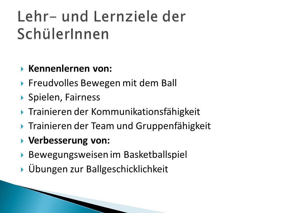 Kennenlernen von: Freudvolles Bewegen mit dem Ball Spielen, Fairness Trainieren der Kommunikationsfähigkeit Trainieren der Team und Gruppenfähigkeit V