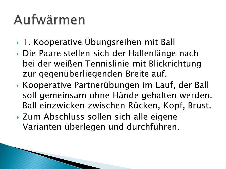 1. Kooperative Übungsreihen mit Ball Die Paare stellen sich der Hallenlänge nach bei der weißen Tennislinie mit Blickrichtung zur gegenüberliegenden B