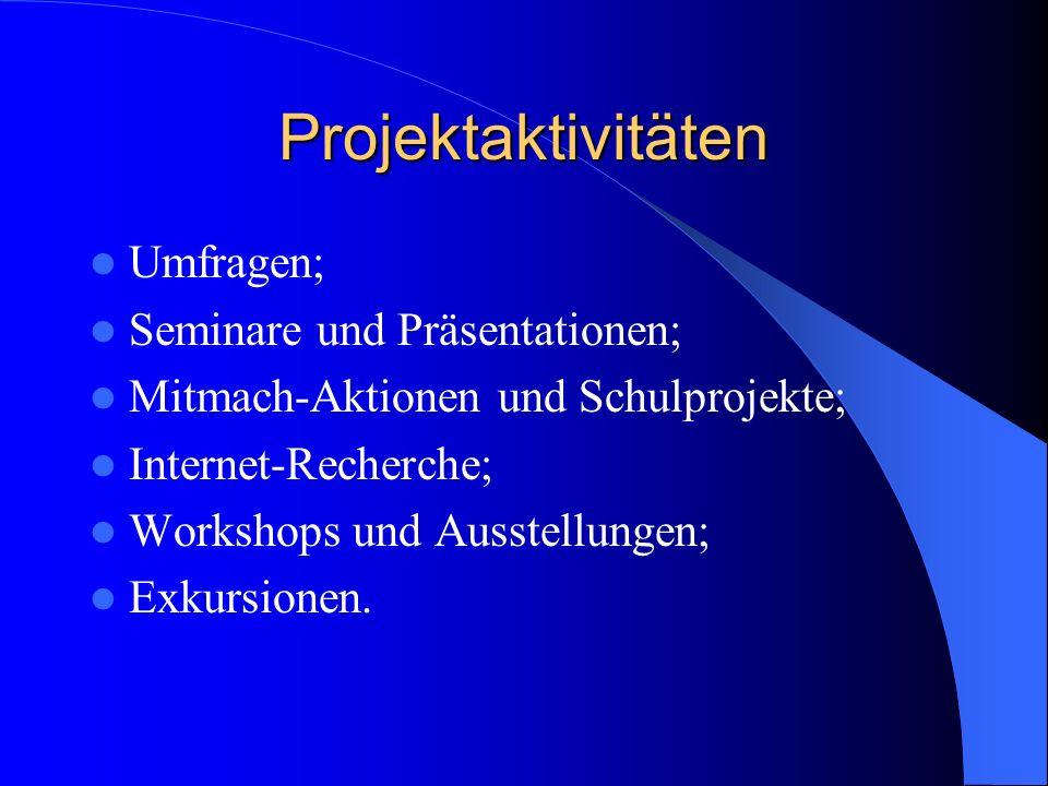Projektaktivitäten Umfragen; Seminare und Präsentationen; Mitmach-Aktionen und Schulprojekte; Internet-Recherche; Workshops und Ausstellungen; Exkursionen.