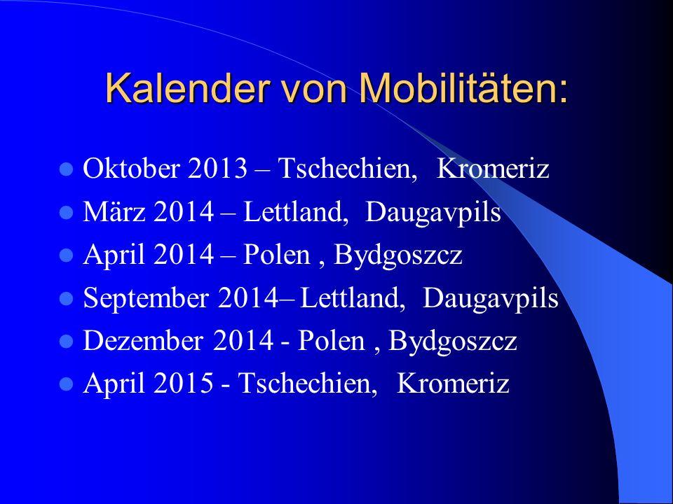 Kalender von Mobilitäten: Oktober 2013 – Tschechien, Kromeriz März 2014 – Lettland, Daugavpils April 2014 – Polen, Bydgoszcz September 2014– Lettland, Daugavpils Dezember 2014 - Polen, Bydgoszcz April 2015 - Tschechien, Kromeriz