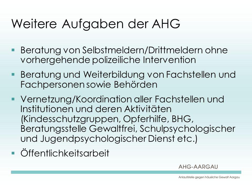 Weitere Aufgaben der AHG Beratung von Selbstmeldern/Drittmeldern ohne vorhergehende polizeiliche Intervention Beratung und Weiterbildung von Fachstell