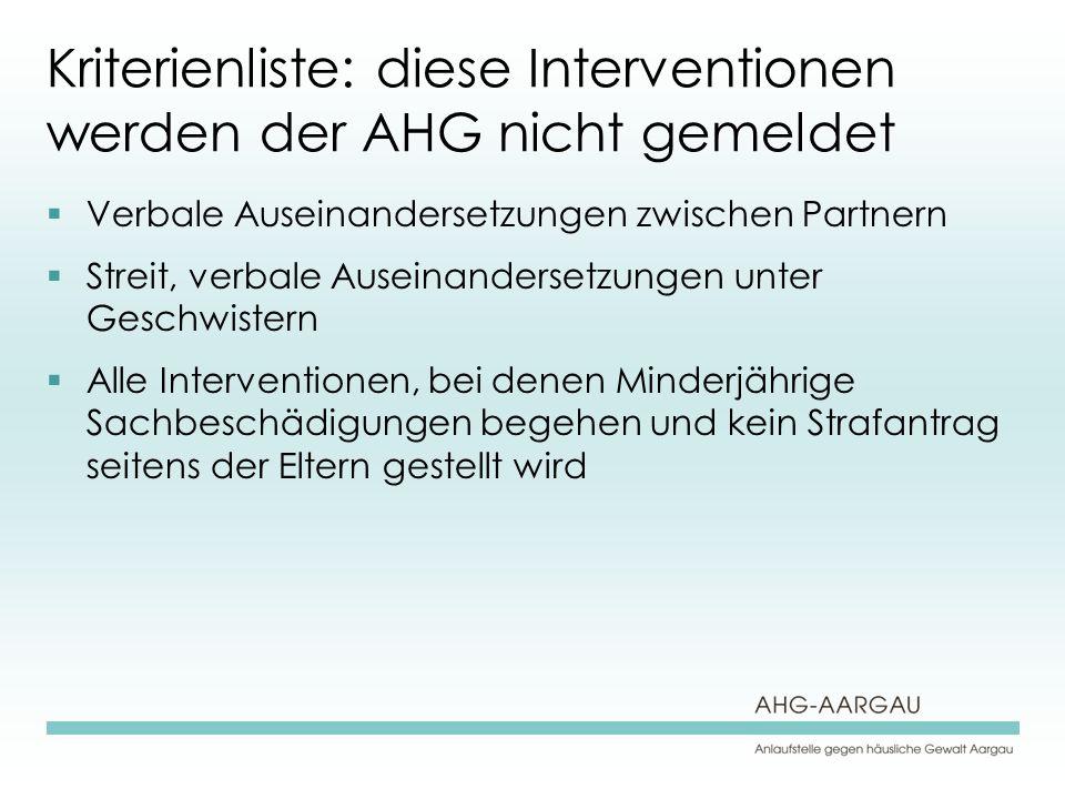 Kriterienliste: diese Interventionen werden der AHG nicht gemeldet Verbale Auseinandersetzungen zwischen Partnern Streit, verbale Auseinandersetzungen