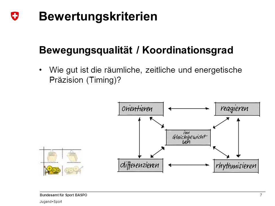 7 Bundesamt für Sport BASPO Jugend+Sport Bewertungskriterien Bewegungsqualität / Koordinationsgrad Wie gut ist die räumliche, zeitliche und energetische Präzision (Timing)?