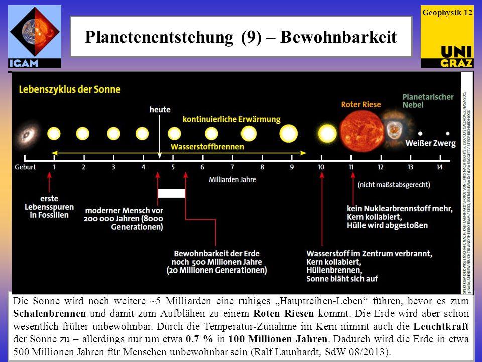 Die Sonne wird noch weitere ~5 Milliarden eine ruhiges Hauptreihen-Leben führen, bevor es zum Schalenbrennen und damit zum Aufblähen zu einem Roten Ri