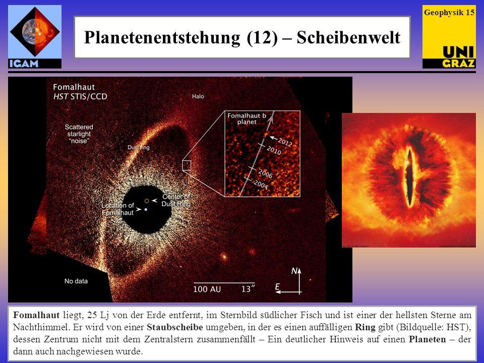 Planetenentstehung (12) – Scheibenwelt Geophysik 15 Fomalhaut liegt, 25 Lj von der Erde entfernt, im Sternbild südlicher Fisch und ist einer der hells