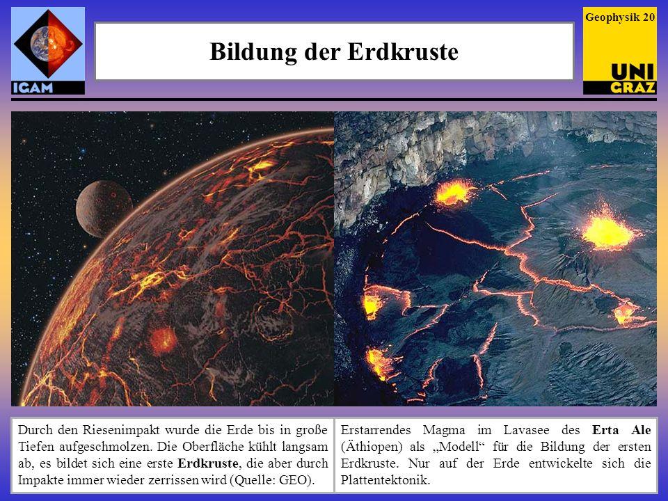 Bildung der Erdkruste Erstarrendes Magma im Lavasee des Erta Ale (Äthiopen) als Modell für die Bildung der ersten Erdkruste. Nur auf der Erde entwicke