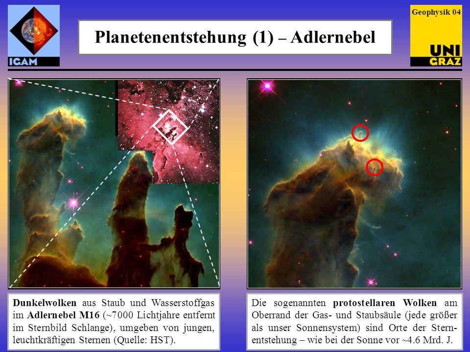 Planetenentstehung (1) – Adlernebel Dunkelwolken aus Staub und Wasserstoffgas im Adlernebel M16 (~7 000 Lichtjahre entfernt im Sternbild Schlange), um
