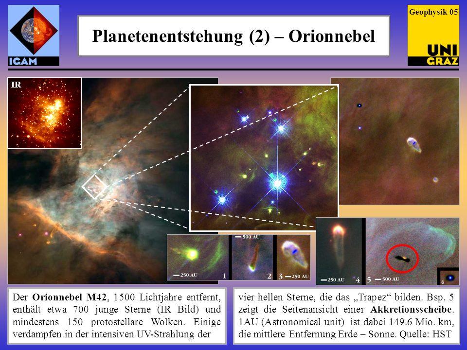 Planetenentstehung (2) – Orionnebel Der Orionnebel M42, 1 500 Lichtjahre entfernt, enthält etwa 700 junge Sterne (IR Bild) und mindestens 150 protoste