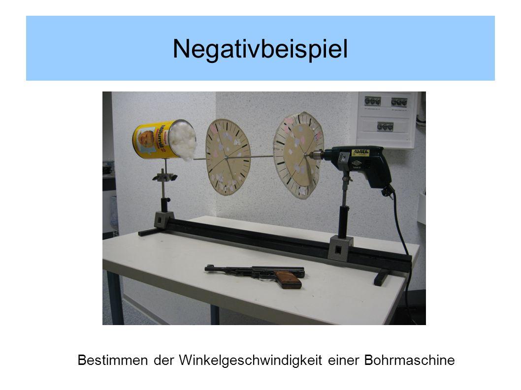 Negativbeispiel Bestimmen der Winkelgeschwindigkeit einer Bohrmaschine