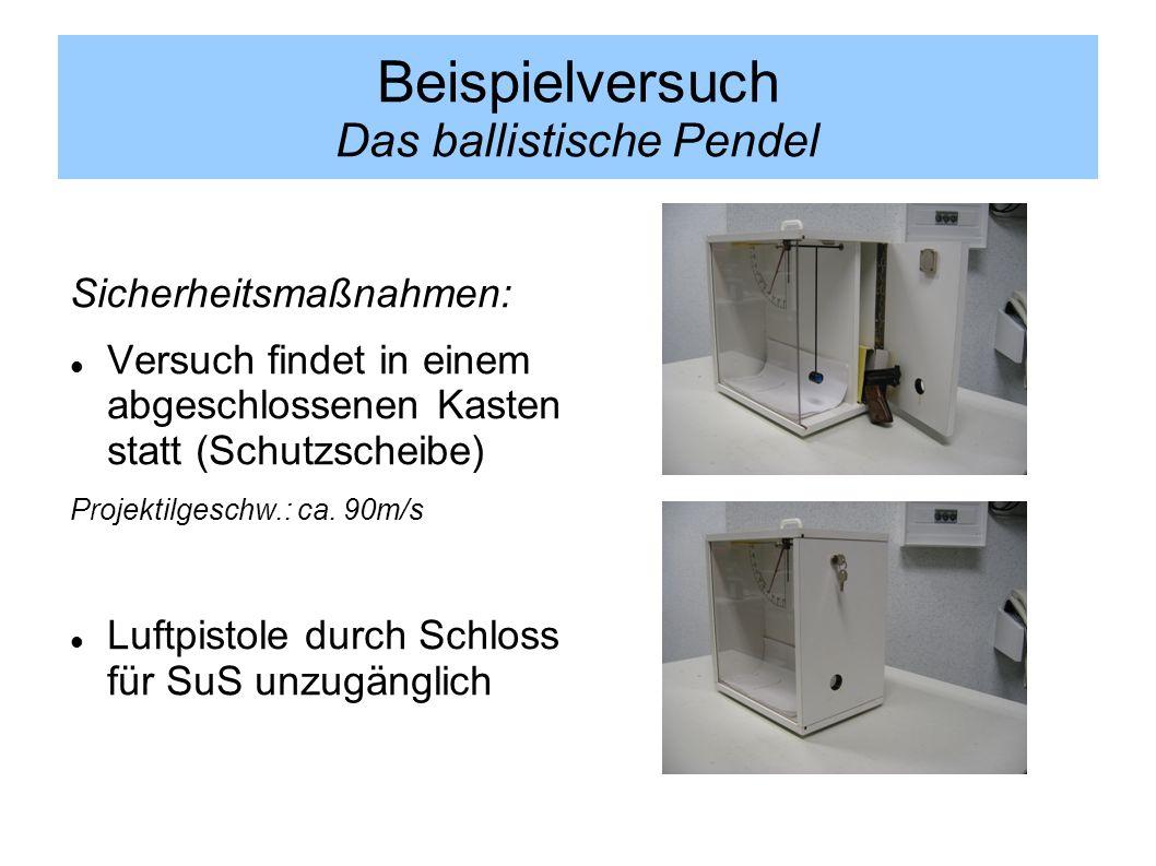 Sicherheitsmaßnahmen: Versuch findet in einem abgeschlossenen Kasten statt (Schutzscheibe) Projektilgeschw.: ca. 90m/s Luftpistole durch Schloss für S