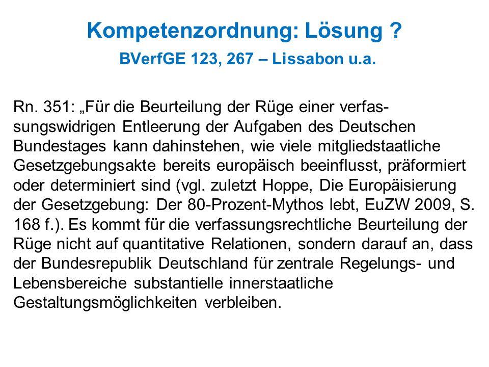 Kompetenzordnung: Lösung ? BVerfGE 123, 267 – Lissabon u.a. Rn. 351: Für die Beurteilung der Rüge einer verfas- sungswidrigen Entleerung der Aufgaben