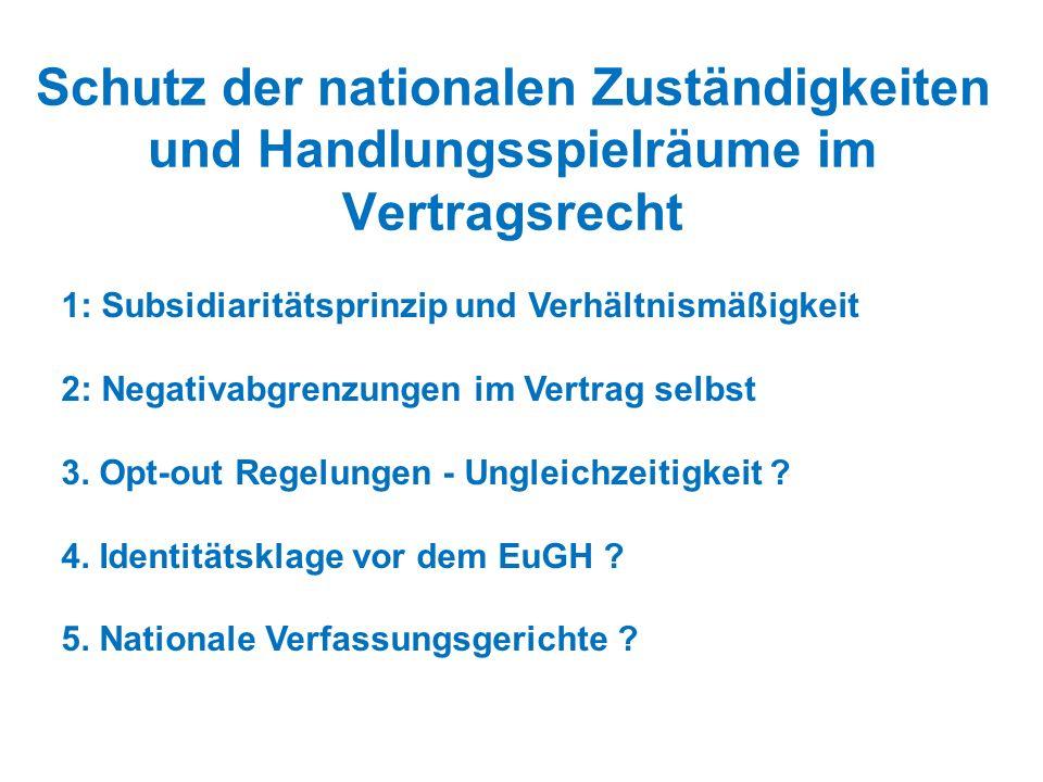 Schutz der nationalen Zuständigkeiten und Handlungsspielräume im Vertragsrecht 1: Subsidiaritätsprinzip und Verhältnismäßigkeit 2: Negativabgrenzungen im Vertrag selbst 3.
