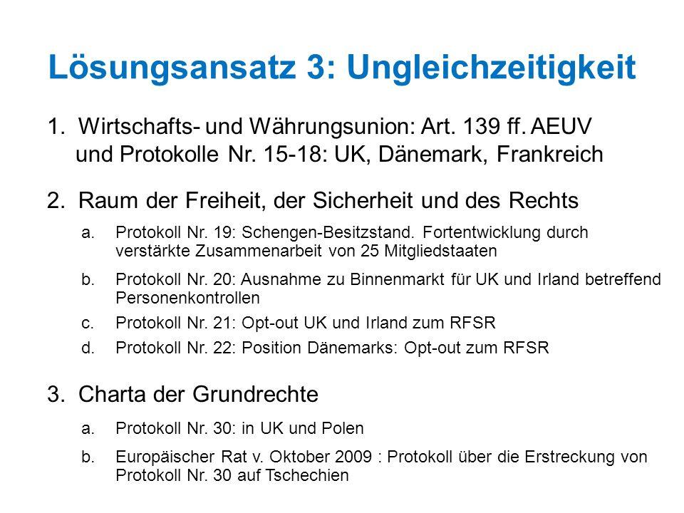 Lösungsansatz 3: Ungleichzeitigkeit 1. Wirtschafts- und Währungsunion: Art. 139 ff. AEUV und Protokolle Nr. 15-18: UK, Dänemark, Frankreich 2. Raum de