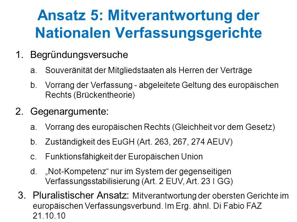 Ansatz 5: Mitverantwortung der Nationalen Verfassungsgerichte 1.Begründungsversuche a.Souveränität der Mitgliedstaaten als Herren der Verträge b.Vorra