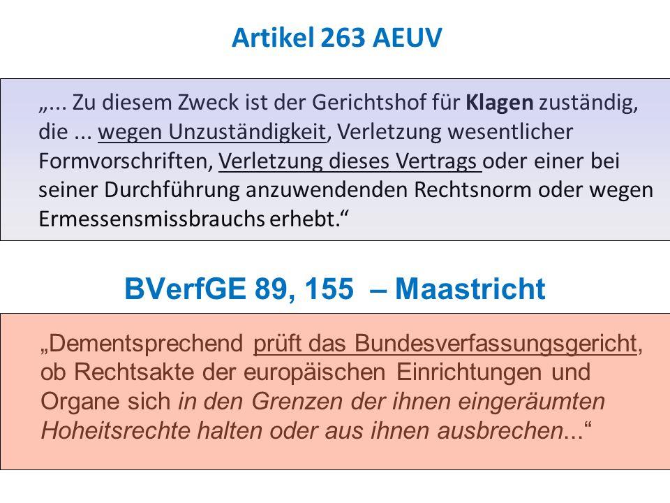 BVerfGE 89, 155 – Maastricht Dementsprechend prüft das Bundesverfassungsgericht, ob Rechtsakte der europäischen Einrichtungen und Organe sich in den Grenzen der ihnen eingeräumten Hoheitsrechte halten oder aus ihnen ausbrechen...