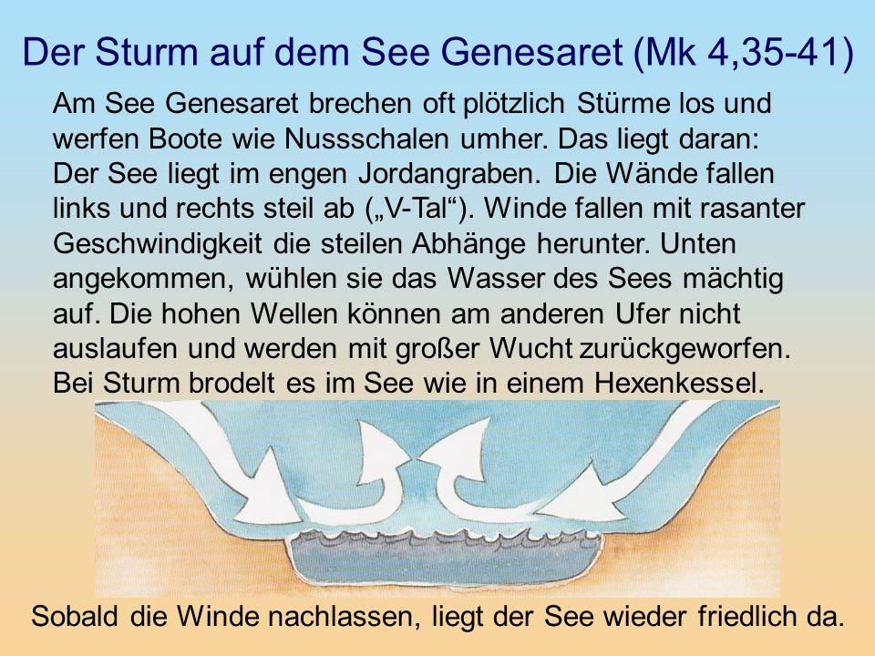 Der Sturm auf dem See Genesaret (Mk 4,35-41) Am See Genesaret brechen oft plötzlich Stürme los und werfen Boote wie Nussschalen umher. Das liegt daran