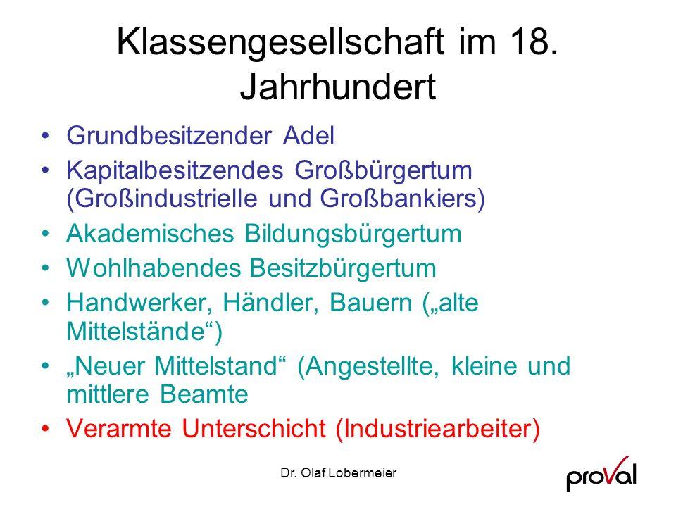 Dr.Olaf Lobermeier Klassengesellschaft im 18.