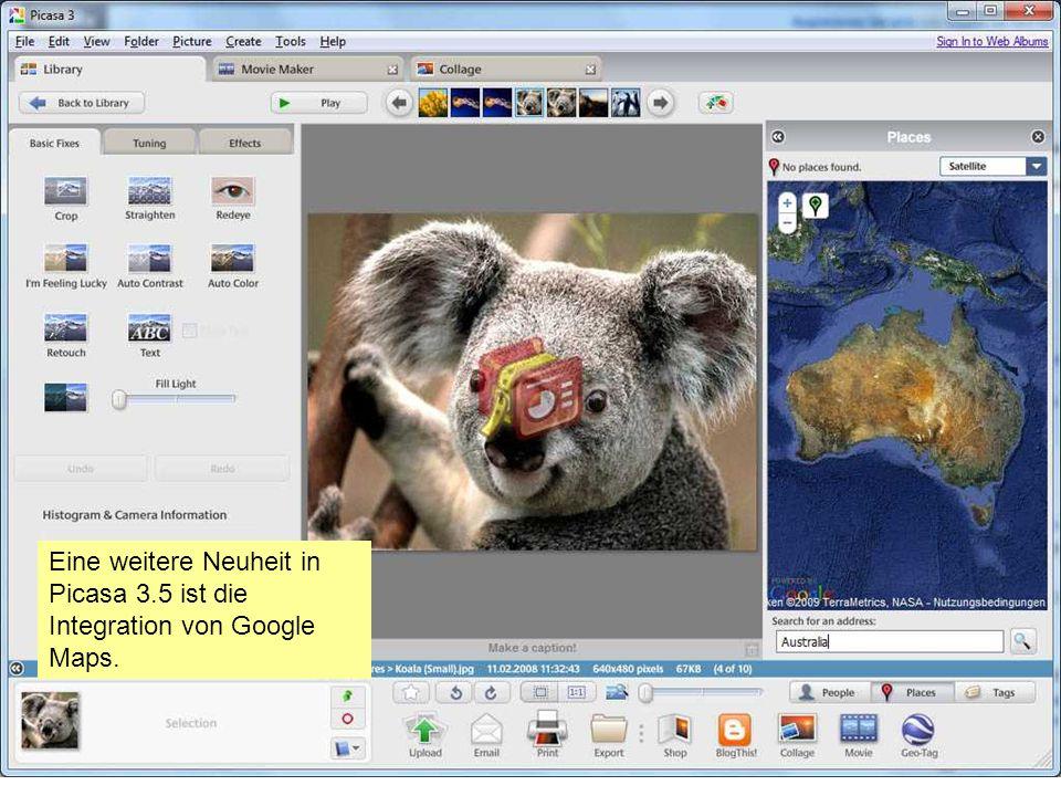 Eine weitere Neuheit in Picasa 3.5 ist die Integration von Google Maps.
