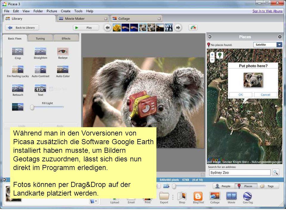 Während man in den Vorversionen von Picasa zusätzlich die Software Google Earth installiert haben musste, um Bildern Geotags zuzuordnen, lässt sich dies nun direkt im Programm erledigen.